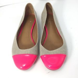 Kate Spade Patent Leather and Canvas Ballet Flats